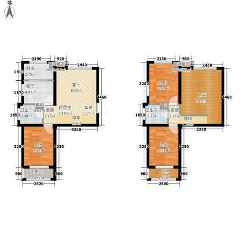 锦江I HOME3室1厅2卫1厨78.00㎡户型图
