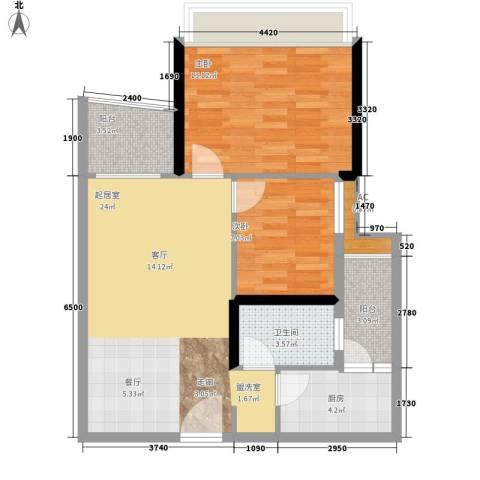 英豪花园2室0厅1卫1厨70.00㎡户型图