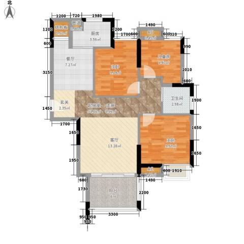 滨江公馆宾仕3室0厅1卫1厨95.00㎡户型图