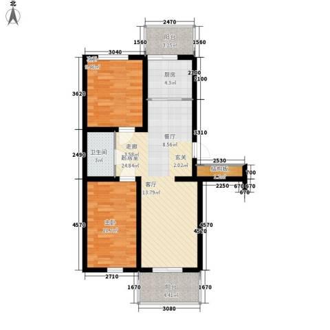 河头里小区2室0厅1卫1厨73.00㎡户型图