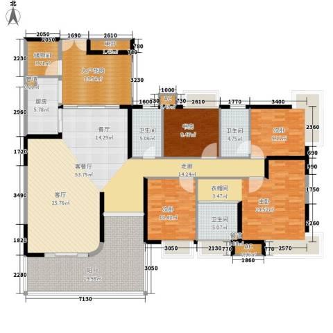 富力天河华庭4室1厅3卫1厨184.00㎡户型图