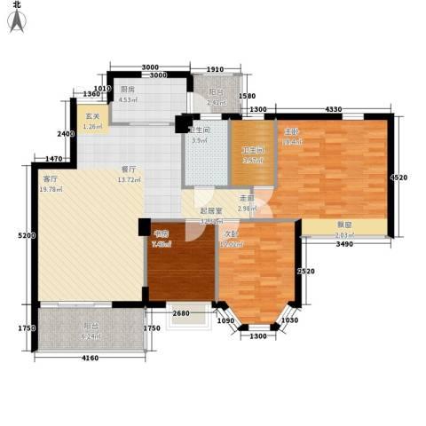 海伦堡御院3室0厅2卫1厨100.00㎡户型图