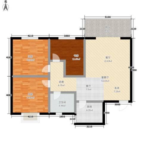 碧水蓝湾3室1厅1卫1厨118.00㎡户型图