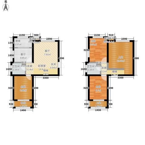 锦江I HOME3室1厅2卫1厨75.00㎡户型图