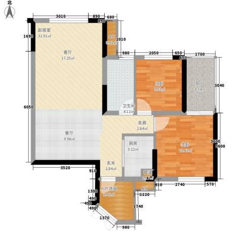 融橙上品公寓2室0厅1卫1厨96.00㎡户型图