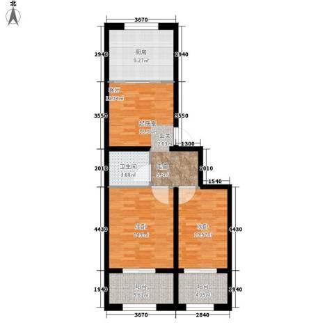 豪景南苑2室0厅1卫1厨75.00㎡户型图