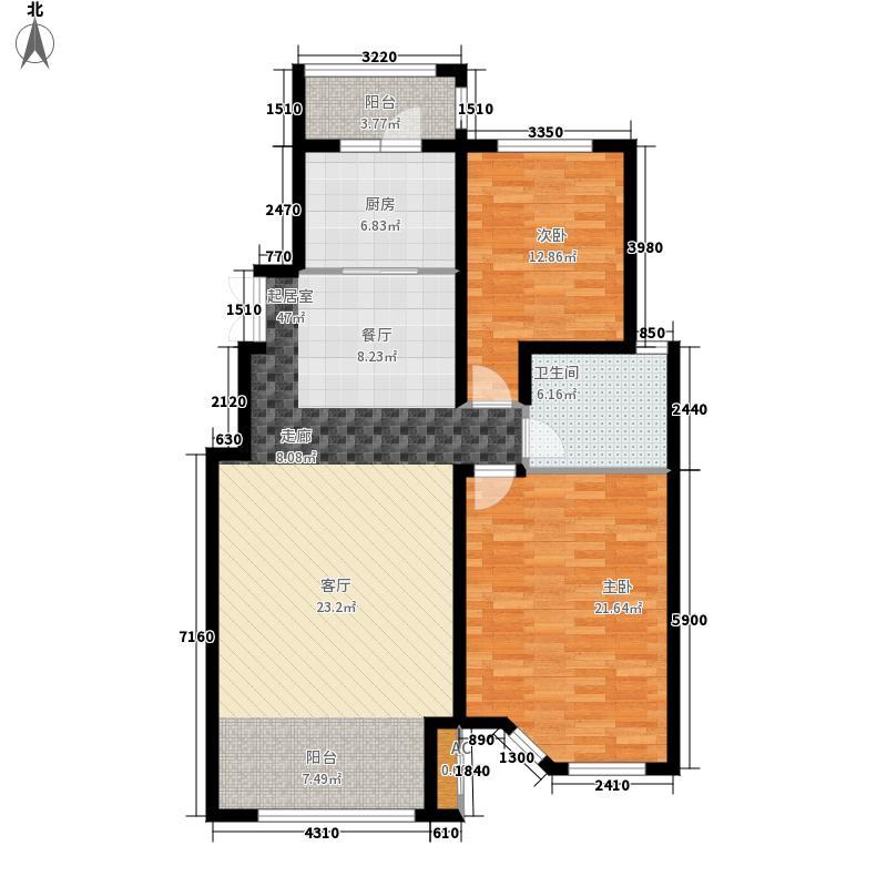 辰能溪树庭院二期B5-02户型2室2厅