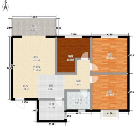 碧水蓝湾3室1厅1卫1厨120.00㎡户型图