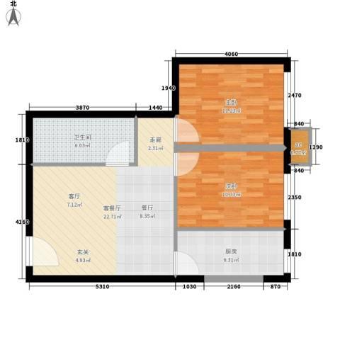 西美花城2室1厅1卫1厨65.00㎡户型图