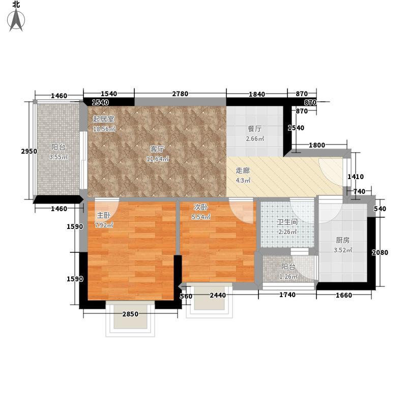 英豪花园63.05㎡A3栋11单元2室面积6305m户型