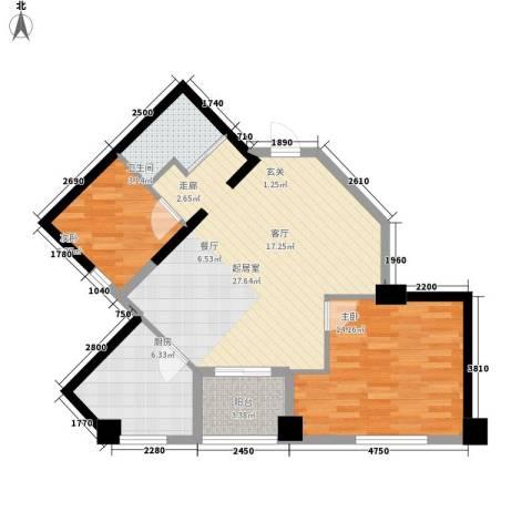 汇金国际公寓2室0厅1卫1厨86.00㎡户型图