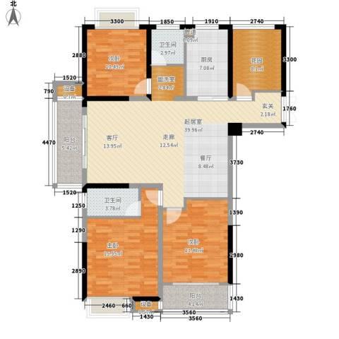 正荣财富中心3室0厅2卫1厨142.00㎡户型图