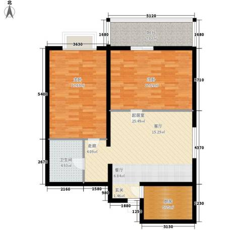 学林雅苑2室0厅1卫1厨89.00㎡户型图
