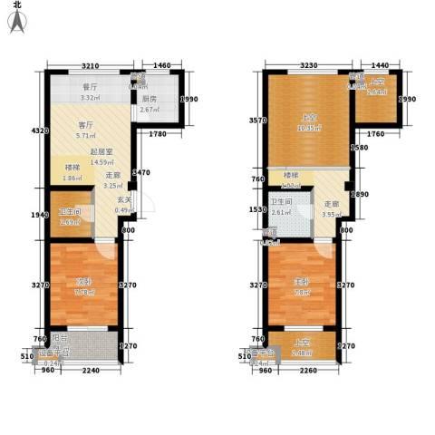 锦江I HOME2室0厅2卫1厨72.00㎡户型图