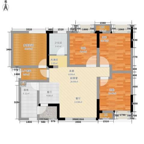 希望城3室0厅1卫1厨93.00㎡户型图
