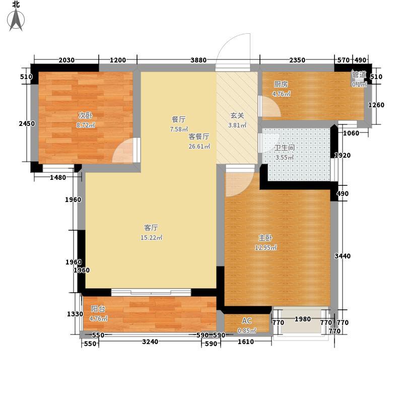 阳光100国际新城72.00㎡户型2室2厅