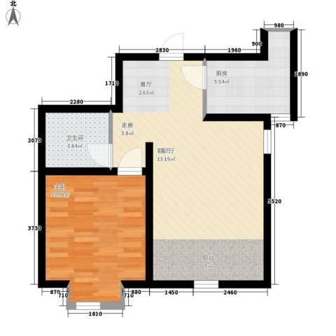 紫辰悦府1室1厅1卫1厨56.00㎡户型图