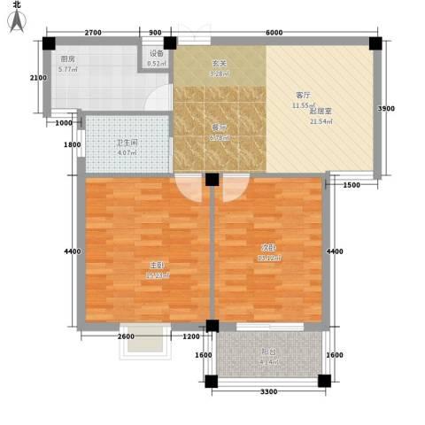 五九所2室0厅1卫1厨75.00㎡户型图
