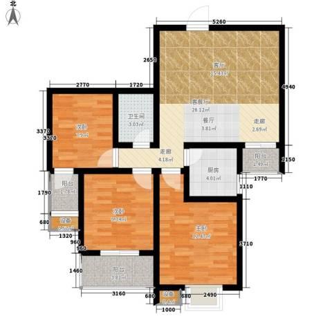 太白新苑3室1厅1卫1厨105.00㎡户型图