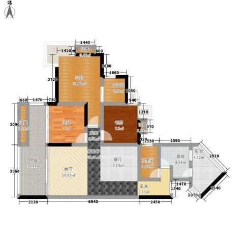 奔力乡间城3室1厅2卫1厨105.00㎡户型图