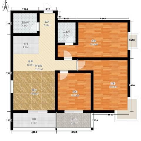 太白新苑3室1厅2卫1厨117.00㎡户型图