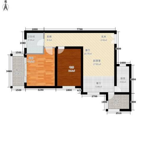 都市朝阳2室0厅1卫1厨101.00㎡户型图