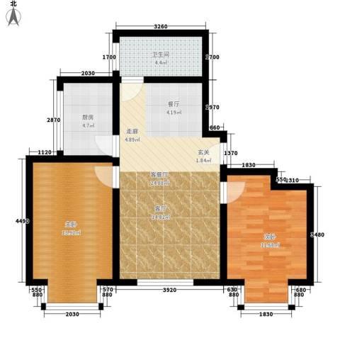 百花明珠2室1厅1卫1厨85.00㎡户型图