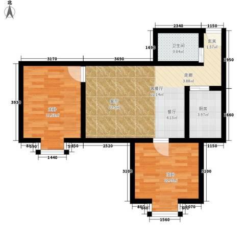 百花明珠2室1厅1卫1厨78.00㎡户型图