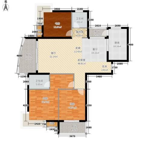 中建文化城3室0厅2卫1厨152.00㎡户型图