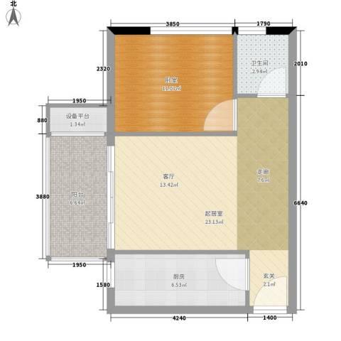 凯旋国际公寓1卫1厨60.00㎡户型图