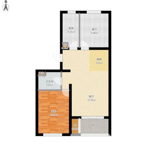 双湖锦苑1室2厅1卫1厨92.00㎡户型图