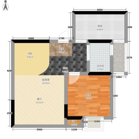 奔力乡间城1室0厅1卫1厨55.00㎡户型图