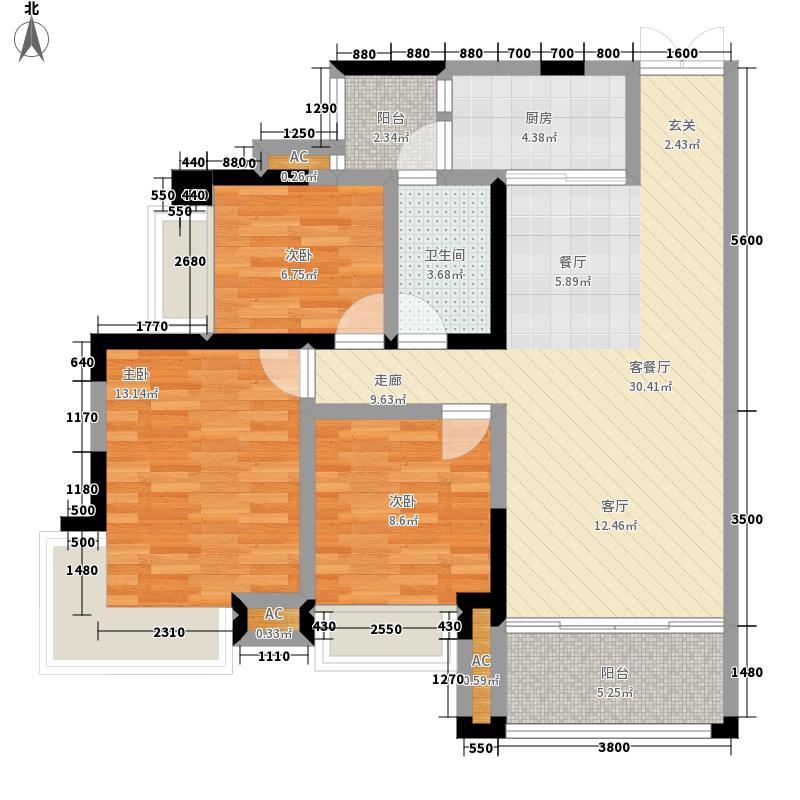 淘金家园C组团95.65㎡C4组团6栋02单元3室户型