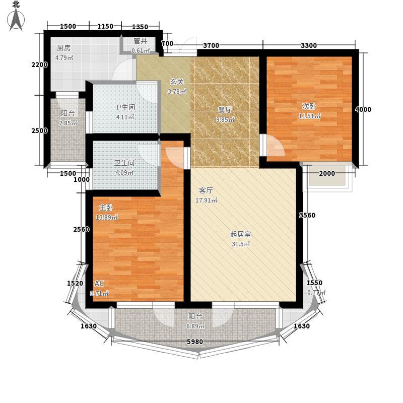 金色家园88.00㎡1面积8800m户型