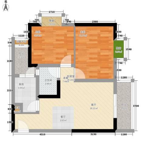 和泓南山道2室0厅1卫1厨57.00㎡户型图