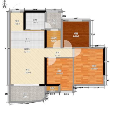 青春3室1厅1卫1厨98.00㎡户型图