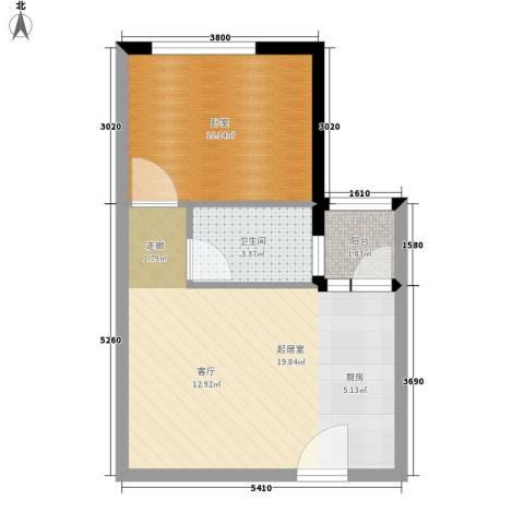 凯旋国际公寓1卫0厨48.00㎡户型图