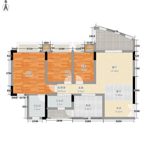 自在城市花园3室0厅2卫1厨103.00㎡户型图
