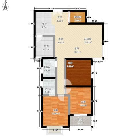 豪盛时代华城3室0厅2卫1厨122.00㎡户型图