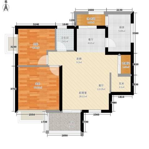 豪盛时代华城2室0厅1卫1厨97.00㎡户型图