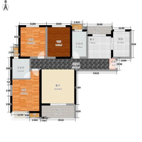 欣景苑3室0厅2卫1厨99.11㎡户型图