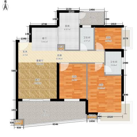 保利林语山庄3室1厅2卫1厨112.00㎡户型图