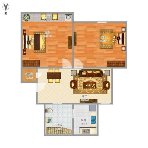 齐河花苑2室1厅1卫1厨88.00㎡户型图