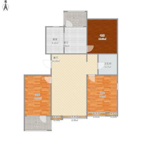 燕都第一城3室2厅1卫1厨142.00㎡户型图