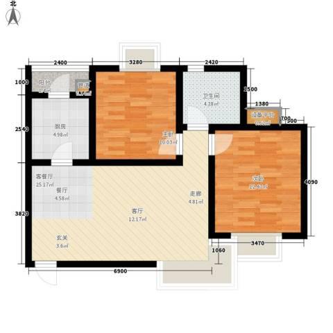天房海滨园2室1厅1卫1厨90.00㎡户型图