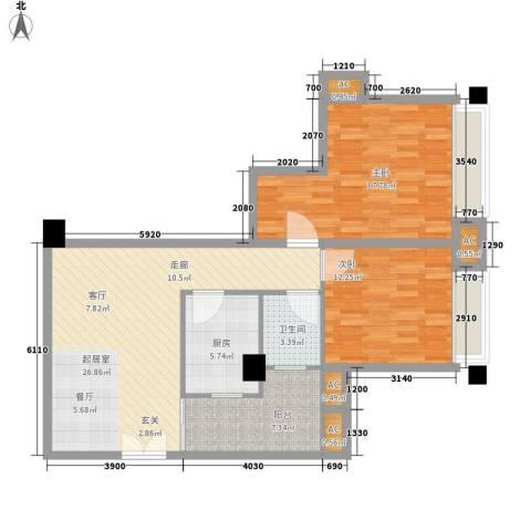 森林公园壹号2室0厅1卫1厨86.00㎡户型图