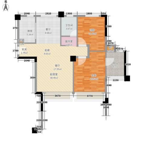 森林公园壹号2室0厅1卫1厨97.00㎡户型图