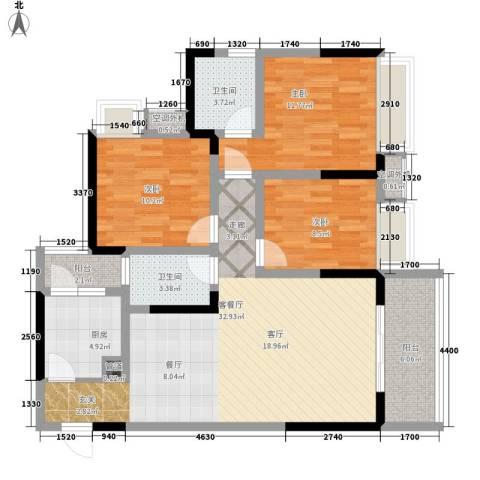 百年佳苑3室1厅2卫1厨106.00㎡户型图