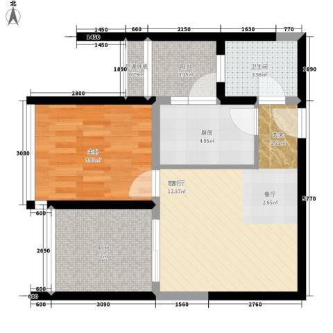 百年佳苑1室1厅1卫1厨57.00㎡户型图