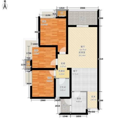 鲁能星城三街区3室0厅1卫1厨237.00㎡户型图
